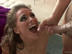 Raunchy Tori Black gets her face doused with warm jizz