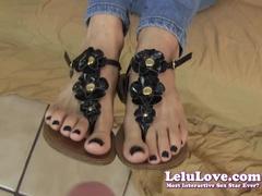Lelu Love Sandals Black Nails giving a Footjob