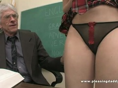 Student fucks her nasty old teacher to pass a test