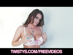 Sexy natural Alison Tyler strips off panties