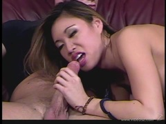 Alluring babe Miko Sins slobbers over this hard cock