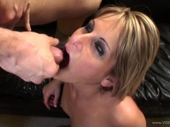Courtney Simpson gets her face doused with warm jizz