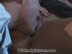 Bad boy squirts his load in Leilani Leeane's mouth