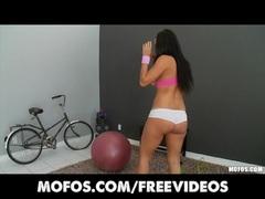 Megan Jones Sexy big booty brunette strips and plays