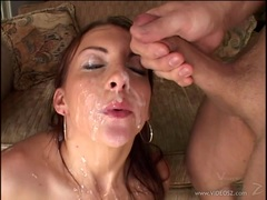 Saucy Jordan Oneil gets showered with thick cock juice