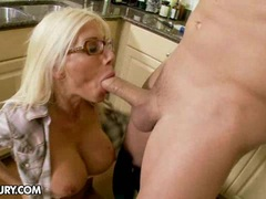 Puma Swede in kitchen sucking cock
