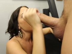 Sexy Brandy Aniston devours this hard throbbing cock