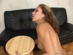 Seductive Jennifer Luv gets her slippery throat slammed