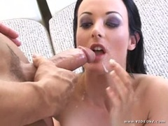 Melissa Lauren gets her face saturated with hot jizz