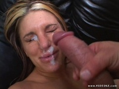 Jackie Moore gets her face plastered with thick cum