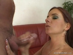 Hottie Evelyn Foxy gets glazed with thick dick juice