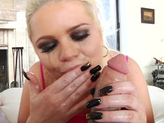 Alexis Ford gets her face glazed with warm dick juice