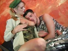 Busty army babe fucks her colleague