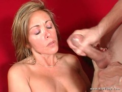 Brooke Brand gets her face drenched with warm jizz