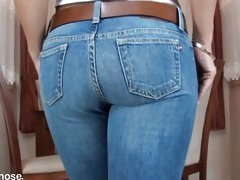 Blonde strips jeans to show pantyhose