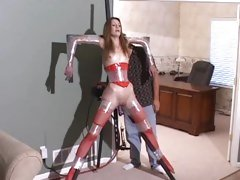Wrapped girl machine fucked