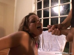 Flower Tucci gets her face saturated with thick cum