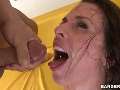 Veronica Avluv gets her face doused with hot jizz