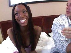 Smiling ebony looks gorgeous as she fucks