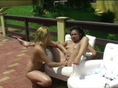 Fisting and footing girl on girl