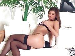 Brunette teasing in a bra and panties