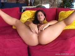 Seductive Luscious Lopez loves teasing her moist pussy