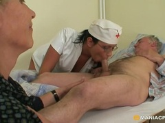 Old patient is fucked by a nurse as his wife watches