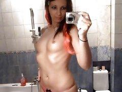 Emo chick bathroom masturbation