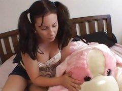 Toy loving babysitter gets her pussy slammed