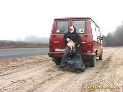 Brunette babe fucked on the side of a main road