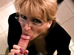 Wild glazed MILF sucks cock