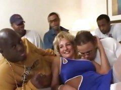 MILF gets interracially gangbanged