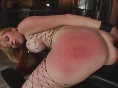 Blonde spanked sore before DP