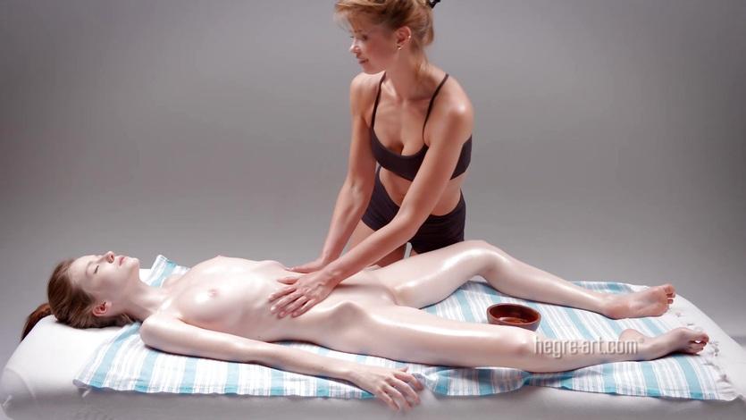 Naked girl on girl massage