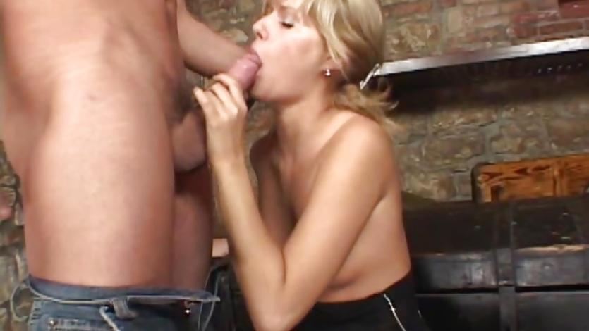Gorgeous Sarah Blue rams this hard dick down her throat