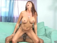Horny Desi Foxx bounces her pussy on this stiff cock