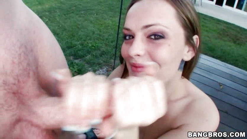 Monica Rise gets her face sprayed with warm cum