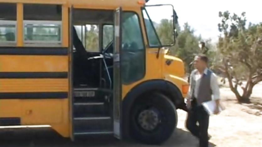 Slutty schoolgirls suck on the school bus