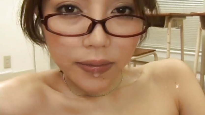 Asian teacher spattered by her student