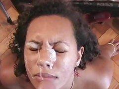 Brazilian babe gets a mammoth facial