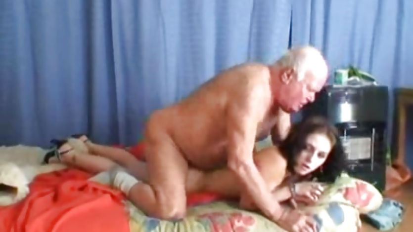 Old guy gets his cock wet