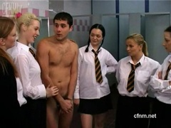 Unformed schoolgirls get this naked dude cumming
