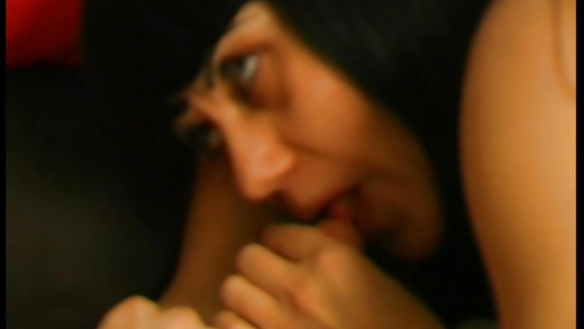 Black haired mature gets a mouthful of cock