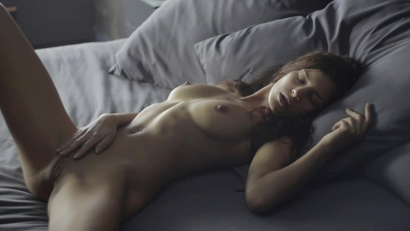 Naked girl masturbates