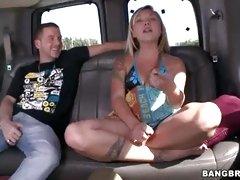 Addison Grey sucking cock in the bang van