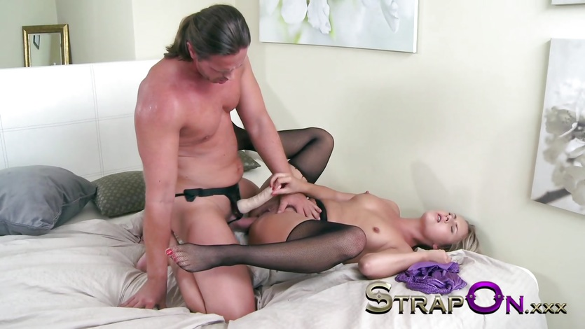 StrapOn Anal creampie for passionate wild girl