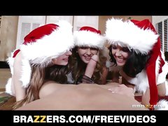 Three teen brunettes share one big cock from santa
