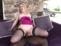Randy babe bounces her moist pussy on this huge prick
