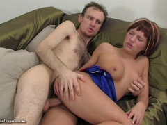 Teen redhead being filled with cock
