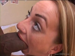 Stunning babe Aline chokes on this huge prick